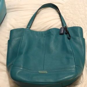 Green Coach tote with lots of pockets!
